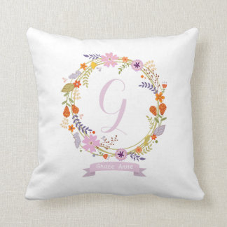 Nursery Girl Decorative Throw Pillow Pink Flowers
