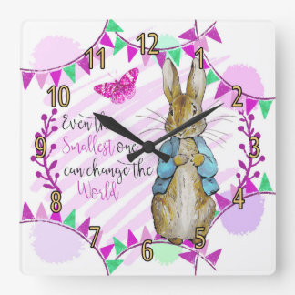Nursery Rabbit and Bunting Clock in pink