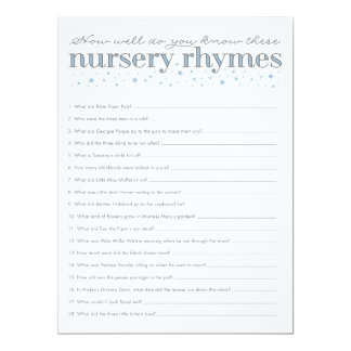 Nursery Rhyme Game Star Baby Shower Game Card