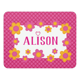Nursery room girls name sign pink yellow floral