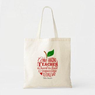 Nursery Teacher tote shopping book bag apple