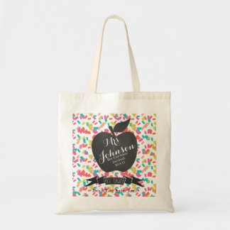 Nursery Teacher tote shopping book bag confetti