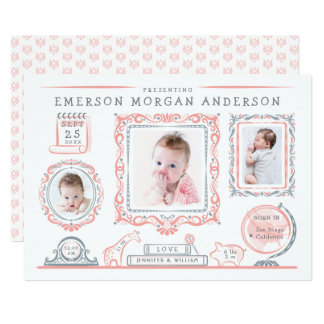 Nursery Wall Baby Girl Birth Announcement