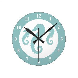 Nursery wall clock with seahorses | sealife animal