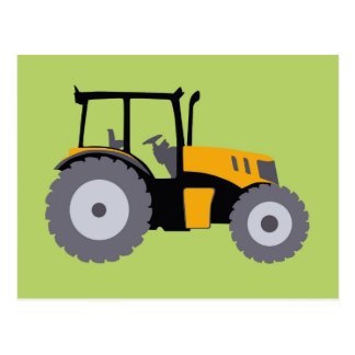 Nursery yellow tractor illustration dump truck postcard