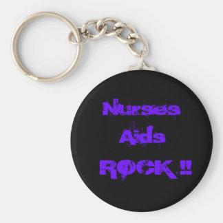 Nurses Aids Rock 2 Basic Round Button Key Ring