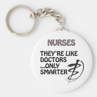 NURSES  ARE SMARTER THAN DOCTORS BASIC ROUND BUTTON KEY RING