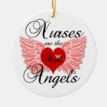 Nurses Are The Real Angles Round Ceramic Decoration
