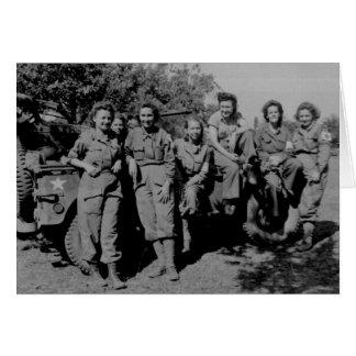 Nurses Beside Jeep WWII Greeting Card