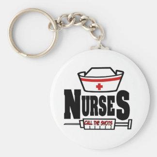 Nurses Call The Shots Basic Round Button Key Ring