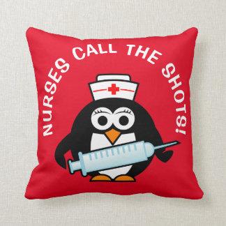 Nurses call the shots funny penguin throw pillow