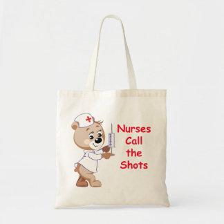Nurses Call the Shots - Nurse Bear Tote Bag