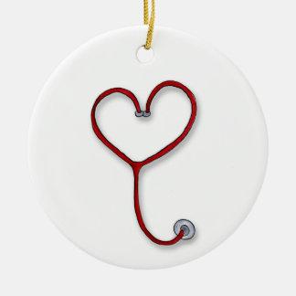 Nurses care with Heart - Nurses Gift - Personalize Ceramic Ornament