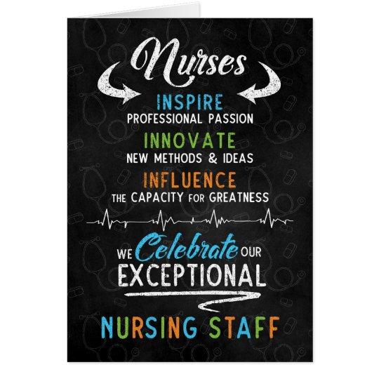 Nurses Day Chalkboard for Nursing Staff 2018 Card
