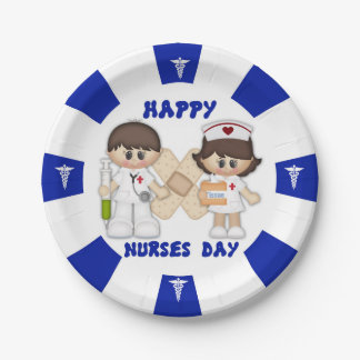 "Nurses Day Custom Paper Plates 7"" 7 Inch Paper Plate"