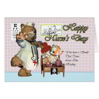 Nurse's Day cute little cat with nurse Greeting Card