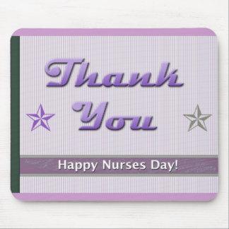 Nurses Day Purple Stripes and Stars Mouse Pad