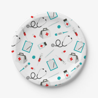 Nurses equipment pattern party paper plate