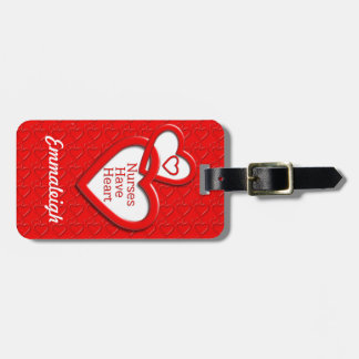 Nurses Have Heart Red Hearts Luggage Tag