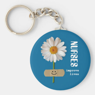 Nurses Improve Lives . Smiling Daisy Gift Keychain
