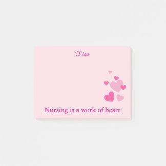 Nurses pink hearts post-it notes