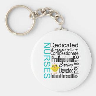 Nurses Recognition Collage - National Nurses Week Basic Round Button Key Ring