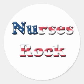 NURSES ROCK CLASSIC ROUND STICKER