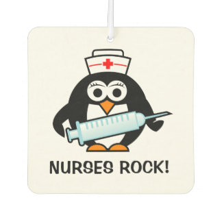 Nurses Rock cute nursing penguin car air freshener