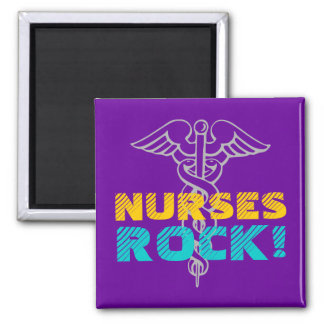 Nurses Rock! Magnet with caduceus symbol