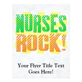 Nurses Rock, Orange and Green Fun 21.5 Cm X 28 Cm Flyer