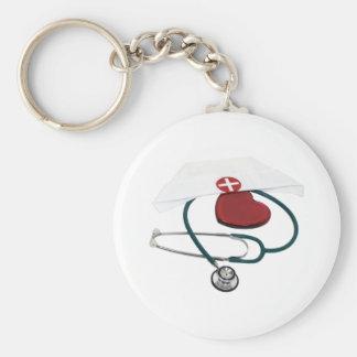 NursesHaveHeart082309 Basic Round Button Key Ring