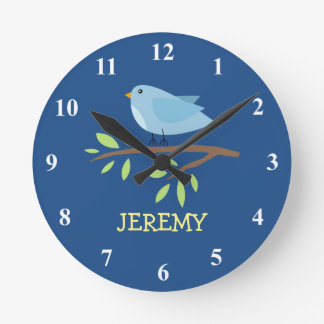 Nursey wall clock with cute bird on a branch