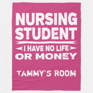 Nursing College Major No Life or Money Fleece Blanket