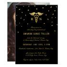 Nursing Graduation Invitations | Gold & Black