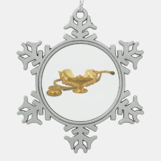 Nursing Lamp Snowflake Pewter Christmas Ornament