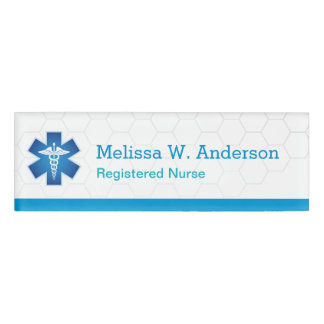 Nursing Nurse Modern Blue White Medical Symbol Name Tag
