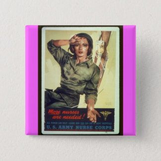Nursing Recruitment Poster WW ll - Vintage Art 15 Cm Square Badge