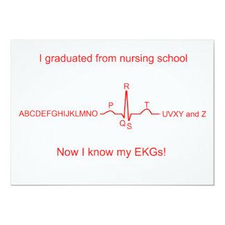 Nursing School EKG Graduation Card 13 Cm X 18 Cm Invitation Card
