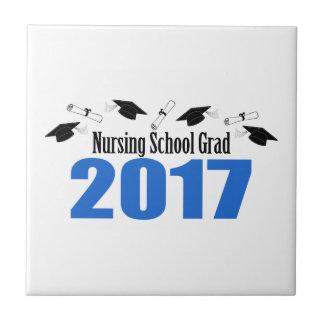 Nursing School Grad 2017 Caps And Diplomas (Blue) Ceramic Tile