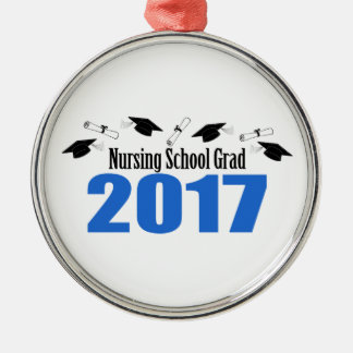 Nursing School Grad 2017 Caps And Diplomas (Blue) Metal Ornament