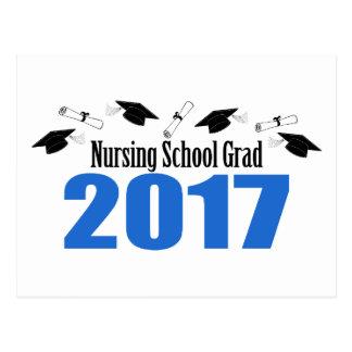 Nursing School Grad 2017 Caps And Diplomas (Blue) Postcard