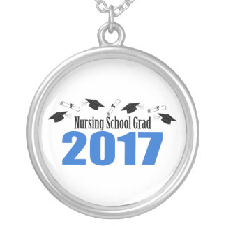 Nursing School Grad 2017 Caps And Diplomas (Blue) Silver Plated Necklace