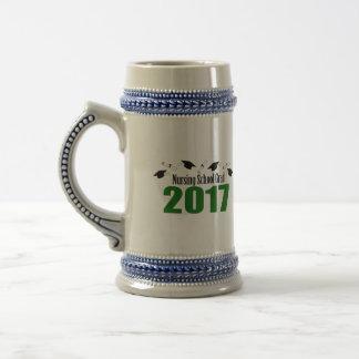 Nursing School Grad 2017 Caps And Diplomas (Green) Beer Stein