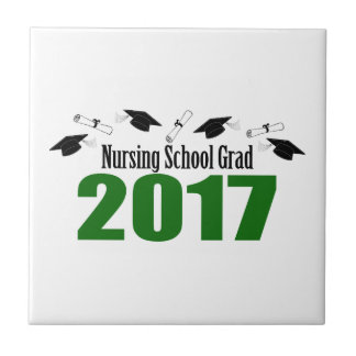 Nursing School Grad 2017 Caps And Diplomas (Green) Ceramic Tile