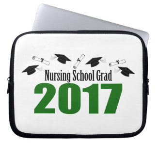Nursing School Grad 2017 Caps And Diplomas (Green) Laptop Sleeve