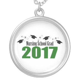Nursing School Grad 2017 Caps And Diplomas (Green) Silver Plated Necklace
