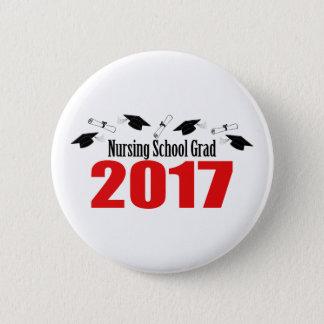 Nursing School Grad 2017 Caps And Diplomas (Red) 6 Cm Round Badge