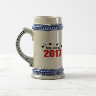 Nursing School Grad 2017 Caps And Diplomas (Red) Beer Stein