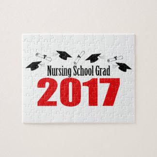 Nursing School Grad 2017 Caps And Diplomas (Red) Jigsaw Puzzle