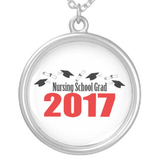 Nursing School Grad 2017 Caps And Diplomas (Red) Silver Plated Necklace